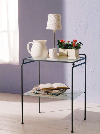 Bedside table made of metal with glass tabletop Tazio, Bontempi Casa