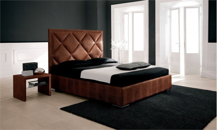 Double bed with upholstered headboard Patrick, Cattelan Italia