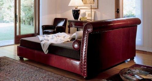 Bed solid wood leather Alfred, Baxter