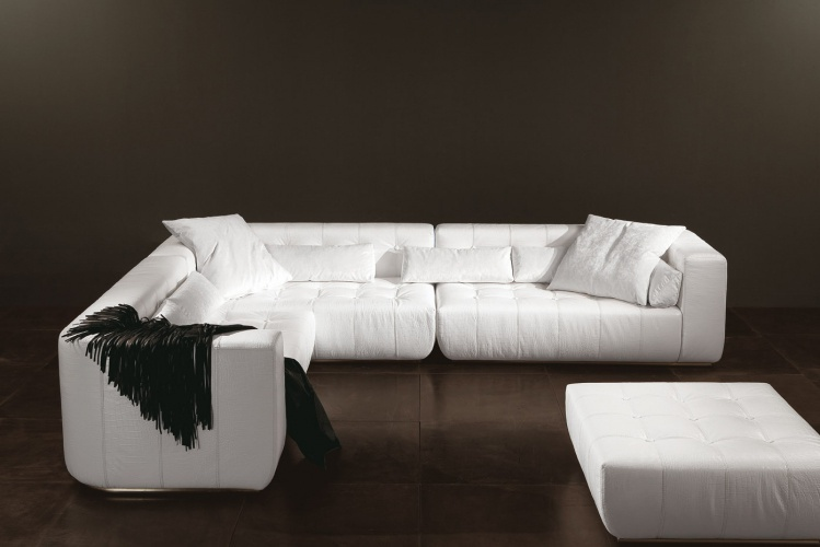 Sofa sectional with leather upholstery Poker - Rugiano