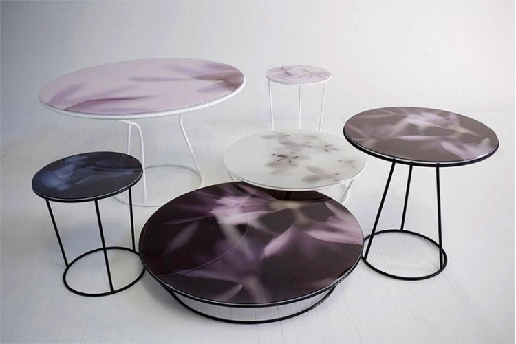 Round dining table on a steel base Around the Roses, Moroso