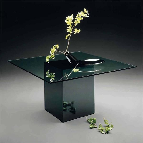 Dining table with a leg of glass and glass Blok, Acerbis International