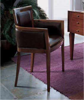 Armchair upholstered in leather working R104, Angela Bizzarri