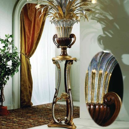 Stand for flower or lamp with housing made of solid wood and decorative gold foil Andrea Fanfani, Andrea Fanfani
