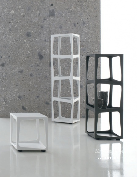 A rack with a frame made of artificial acrylic stone and glass shelves Twist, Alivar