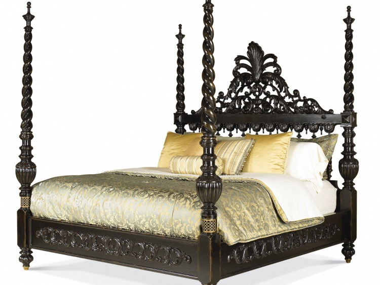 The wide bed with carved headboard, Maitland-Smith